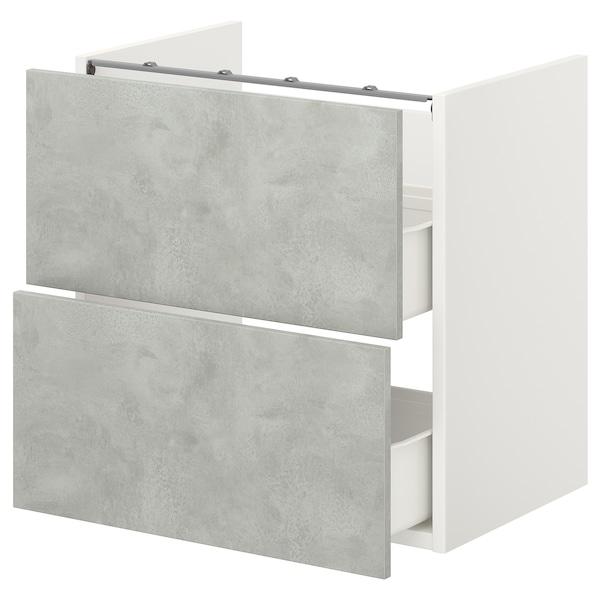ENHET Bänkskåp f kommod m 2 lådor, vit/betongmönstrad, 60x42x60 cm