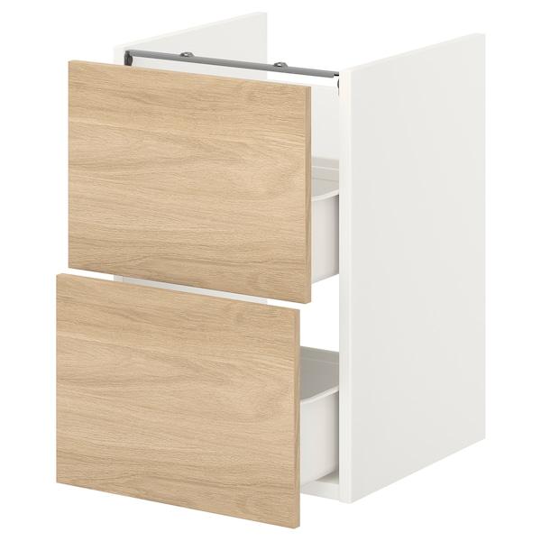 ENHET Bänkskåp f kommod m 2 lådor, vit/ekmönstrad, 40x42x60 cm