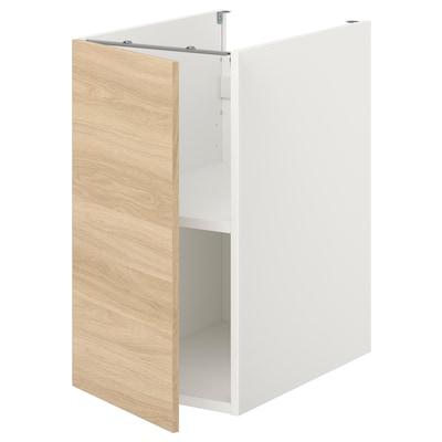 ENHET Bänkskåp m hyllplan/dörr, vit/ekmönstrad, 40x62x75 cm