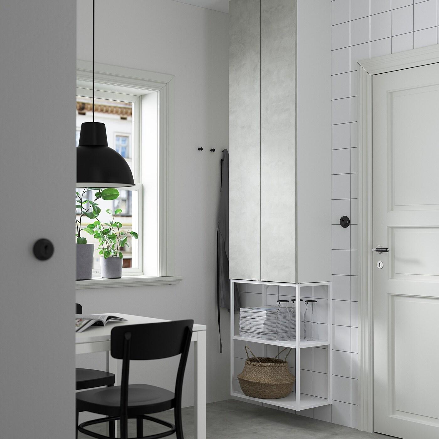 ENHET Förvaringskombination för vägg, vit/betongmönstrad, 60x30x255 cm