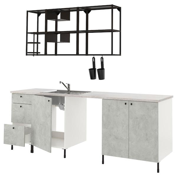 ENHET Kök, antracit/betongmönstrad, 243x63.5x222 cm