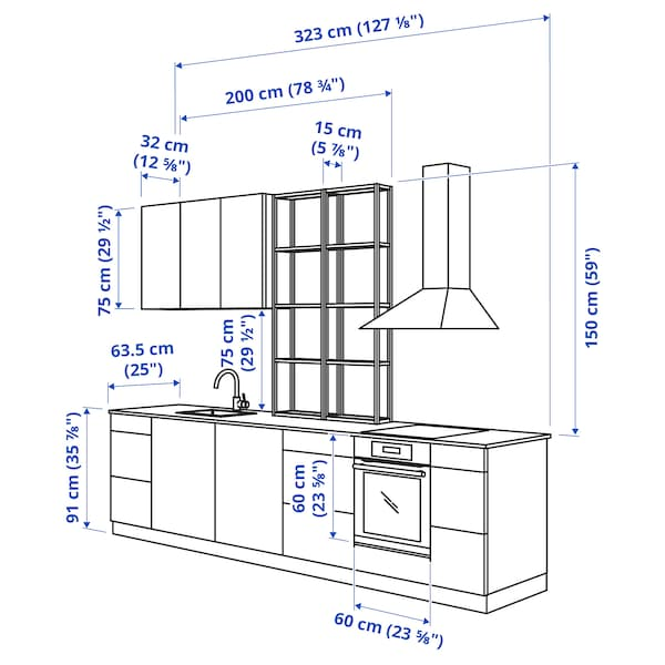 ENHET Kök, vit/betongmönstrad vit, 323x63.5x241 cm