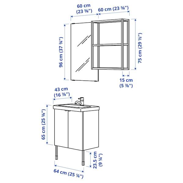 ENHET / TVÄLLEN Badrumsmöbler, 11 delar, ekmönstrad/vit Pilkån kran, 64x43x87 cm