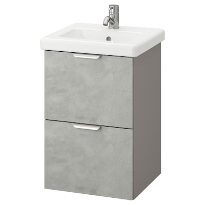 ENHET / TVÄLLEN Kommod med 2 lådor, betongmönstrad/grå Pilkån kran, 44x43x65 cm