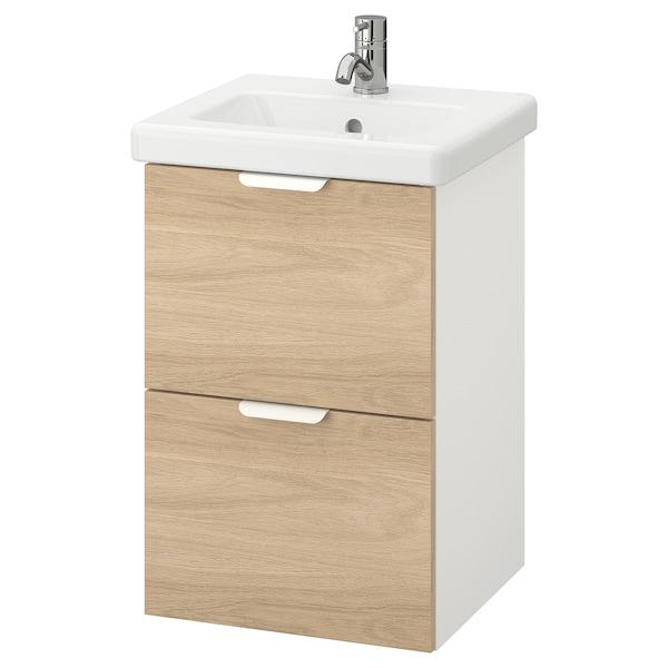 ENHET / TVÄLLEN Kommod med 2 lådor, ekmönstrad/vit Pilkån kran, 44x43x65 cm