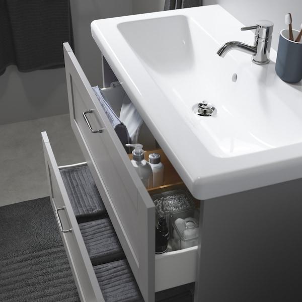 ENHET / TVÄLLEN Kommod med 2 lådor, grå ram/grå Pilkån kran, 84x43x87 cm