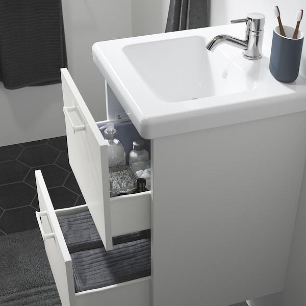 ENHET / TVÄLLEN Kommod med 2 lådor, vit/Pilkån kran, 44x43x65 cm