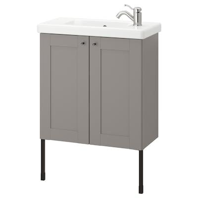 ENHET / TVÄLLEN Tvättställsskåp med 2 dörrar, grå ram/grå Lillsvan kran, 64x33x87 cm