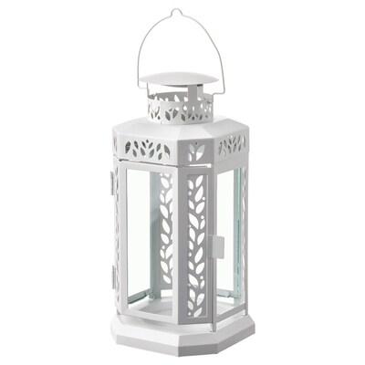 ENRUM Lykta för blockljus, in/utomhus, vit, 27 cm
