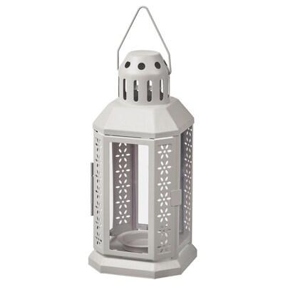 ENRUM Lykta för värmeljus, in/utomhus, grå, 22 cm