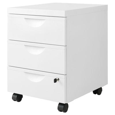 ERIK Hurts med 3 lådor på hjul, vit, 41x57 cm