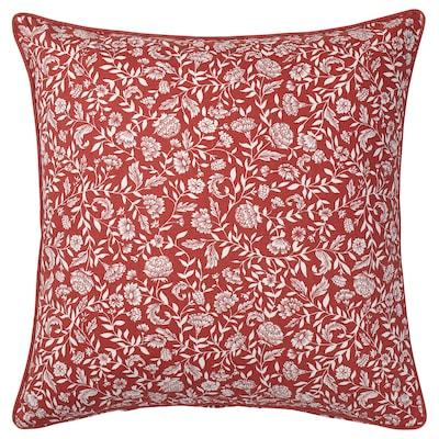 EVALOUISE Kuddfodral, röd/vit/blommönstrad, 50x50 cm
