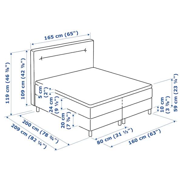 FINNSNES Kontinentalsäng, Hövåg medium fast/Tuddal grå, 160x200 cm