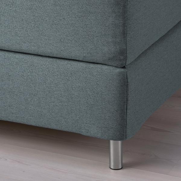 FINNSNES Kontinentalsäng, Hyllestad medium fast/Tustna grå, 160x200 cm