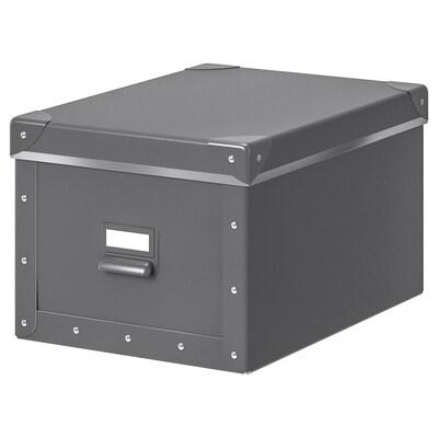 FJÄLLA Förvaringslåda med lock, mörkgrå, 25x36x20 cm