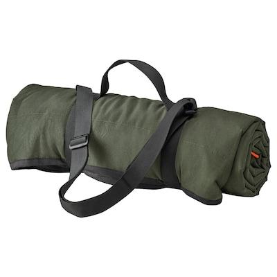 FJÄLLMOTT Picknickfilt, djupgrön/svart, 130x170 cm