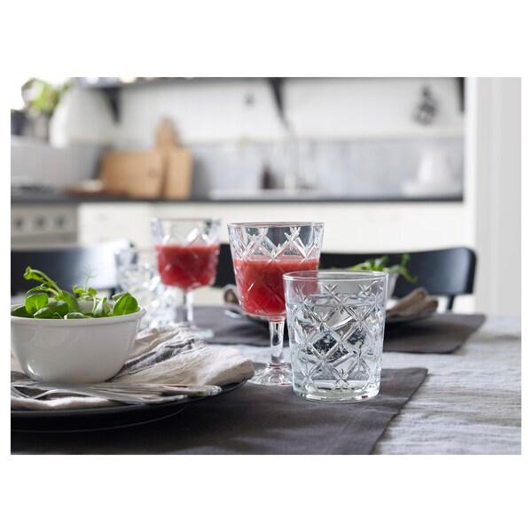 FLIMRA glas klarglas/mönstrad 9.9 cm 28 cl