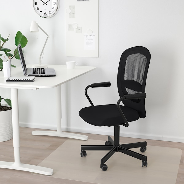FLINTANNOMINELL Kontorsstol med armstöd, svart IKEA