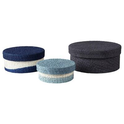 FÖRÄNDRING Förvaringslåda, set om 3, handgjord/risstrå blå/svart
