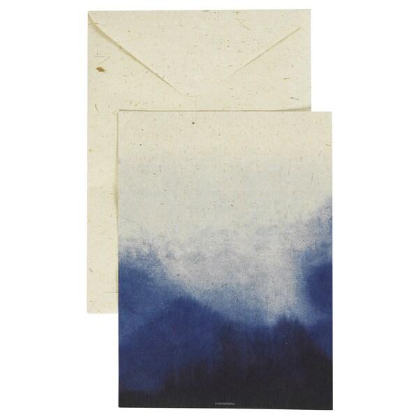 FÖRÄNDRING Kort, handgjord/risstrå blå/naturfärgad, 17x22 cm