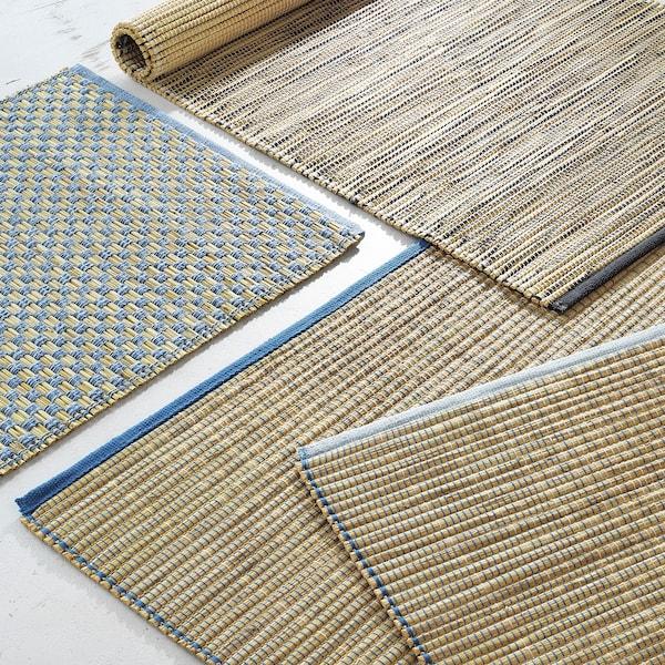 FÖRÄNDRING Matta, slätvävd, handgjord/risstrå blå/naturfärgad, 120x180 cm