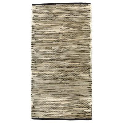 FÖRÄNDRING Matta, slätvävd, handgjord/risstrå svart/natur, 75x150 cm