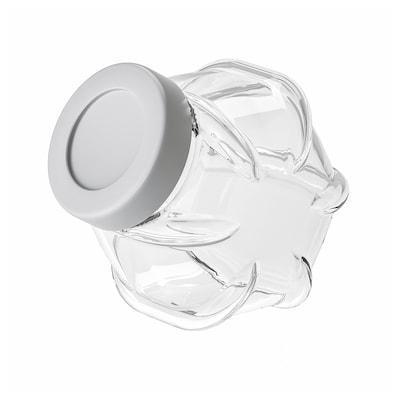 FÖRVAR Burk med lock, glas/aluminiumfärg, 1.8 l