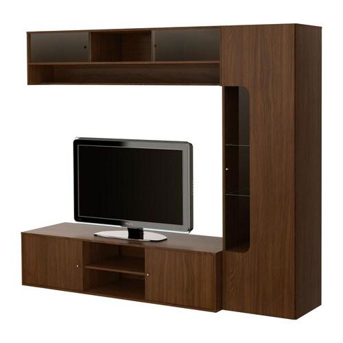 """FOLKVIK Tv-bänk med förvaring, valnötsmönstrad Bredd: 226 cm Djup: 49 cm Höjd: 192 cm Max. belastning: 50 kg Max. bildstorlek platt-tv: 47 """""""