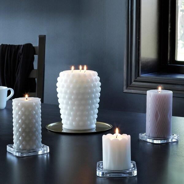 FRAMBRINGA Blockljus utan doft, 3 vekar, vit, 19 cm
