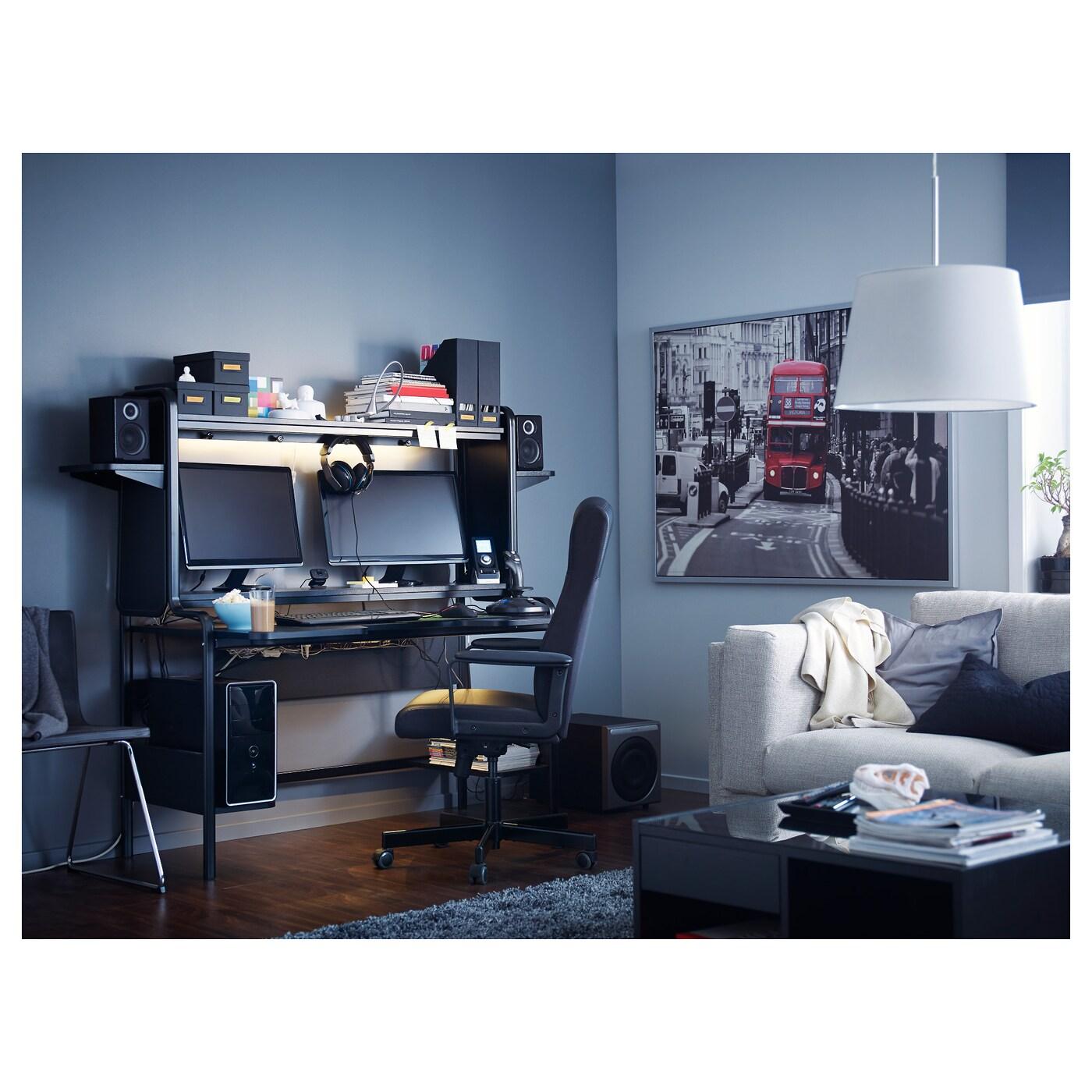 FREDDE Skrivbord, svart, 185x74x146 cm