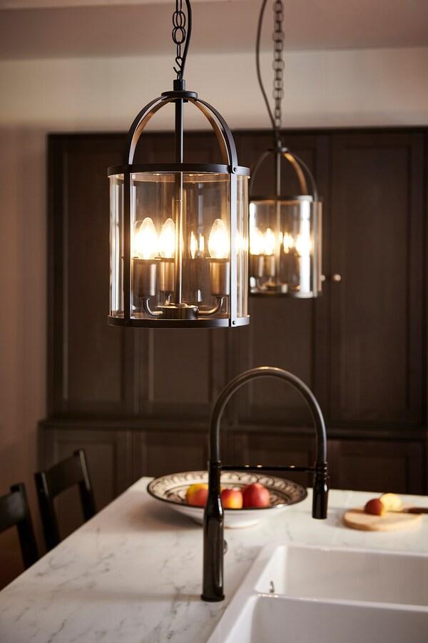 GALJON Taklampa, svart/transparent glas, 25 cm