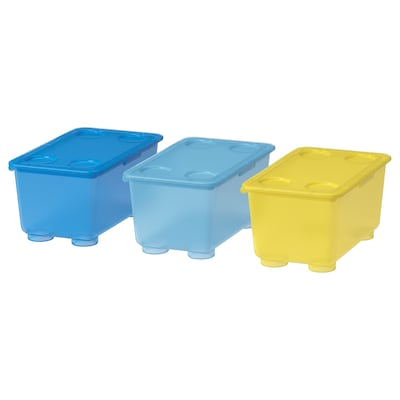 GLIS Låda med lock, gul/blå, 17x10 cm
