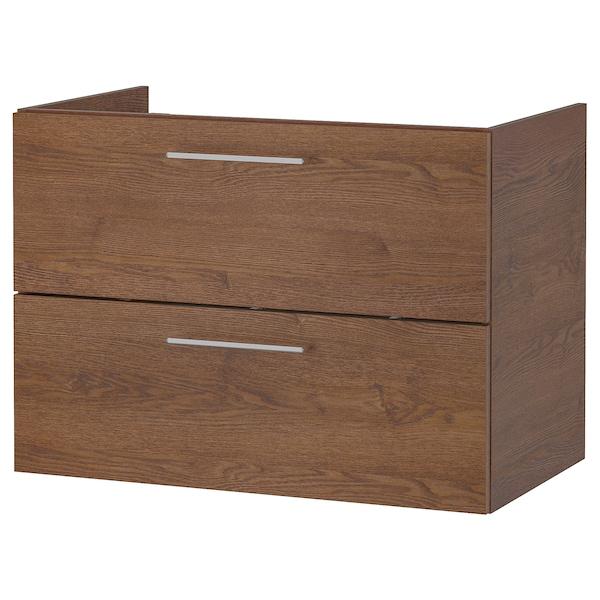 GODMORGON Kommod med 2 lådor, brunlaserat askmönster, 80x47x58 cm