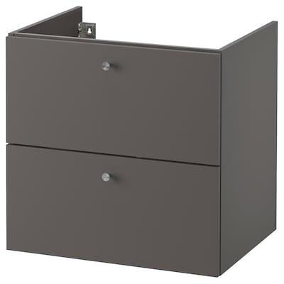 GODMORGON Kommod med 2 lådor, Gillburen mörkgrå, 60x47x58 cm