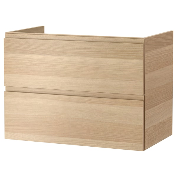 GODMORGON Kommod med 2 lådor, vitlaserad ekeffekt, 80x47x58 cm