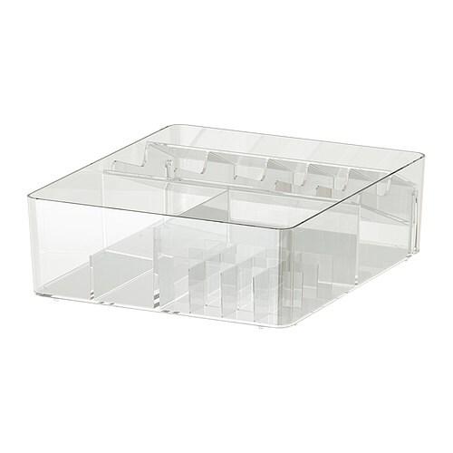 GODMORGON Låda med fack IKEA 10 års garanti. Läs om villkoren i garantibroschyren. Håller ordning på läppstift, sminkborstar, ögonskuggor mm.