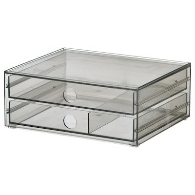 GODMORGON Minibyrå med 2 lådor, rökfärgat, 23x19x9 cm