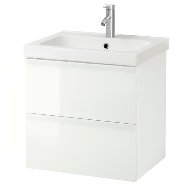 GODMORGON / ODENSVIK Kommod med 2 lådor, högglans vit/Dalskär kran, 63x49x64 cm
