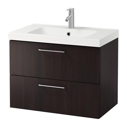 GODMORGON ODENSVIK Kommod med 2 lådor svartbrun IKEA