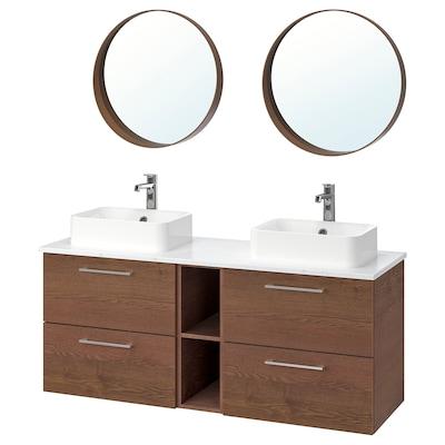 GODMORGON/TOLKEN / HÖRVIK Badrumsmöbler, 10 delar, Gillburen brunlaserat askmönster/marmormönstrad Brogrund kran, 142x49x72 cm