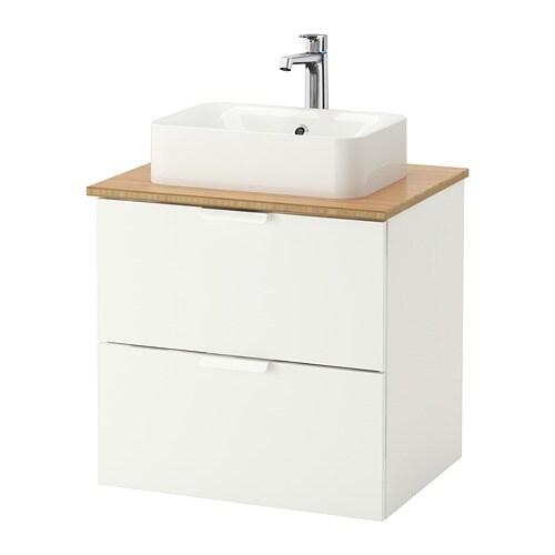 GODMORGON TOLKEN HÖRVIK Kommod m tvttställ45x32 f bänkskiva bambu, vit IKEA