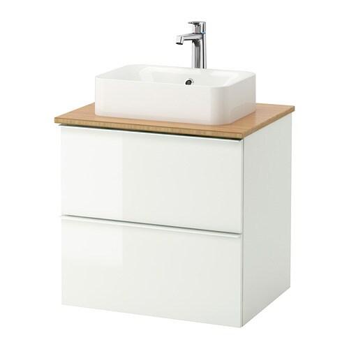 GODMORGON TOLKEN HÖRVIK Kommod m tvttställ45x32 f bänkskiva bambu, högglans vit IKEA