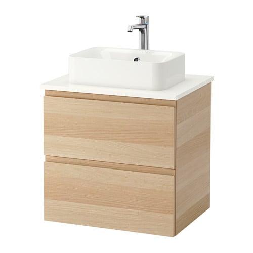 GODMORGON TOLKEN HÖRVIK Kommod m tvttställ45x32 f bänkskiva vit, vitlaserad ekeffekt IKEA