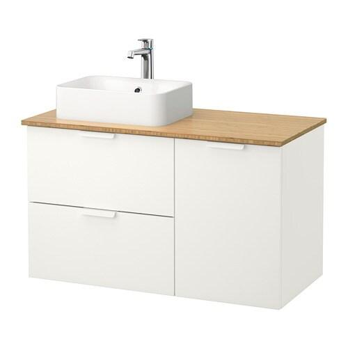 GODMORGON TOLKEN HÖRVIK Kommod med 45×32 tvättställ bambu, vit IKEA