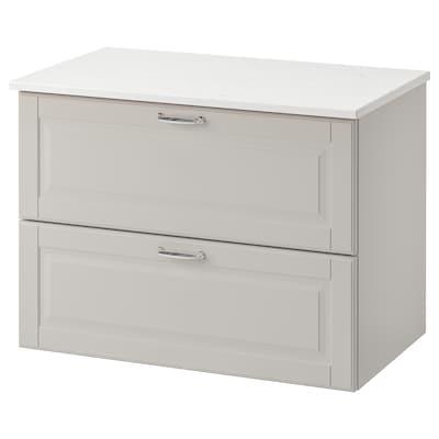 GODMORGON / TOLKEN Kommod med 2 lådor, Kasjön ljusgrå/marmormönstrad, 82x49x60 cm
