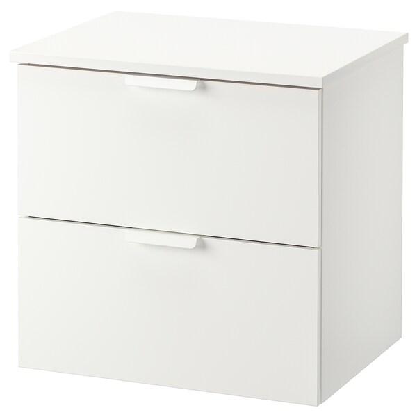 GODMORGON / TOLKEN Kommod med 2 lådor, vit/vit, 62x49x60 cm