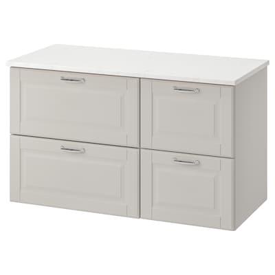 GODMORGON / TOLKEN Kommod med 4 lådor, Kasjön ljusgrå/marmormönstrad, 102x49x60 cm