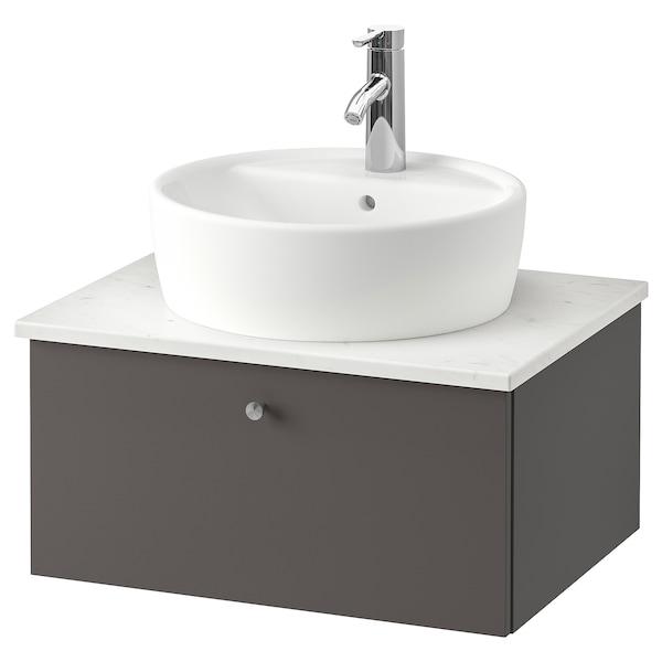 GODMORGON/TOLKEN / TÖRNVIKEN Kommod m tvttställ 45 f bänkskiva, Gillburen mörkgrå/marmormönstrad Dalskär kran, 62x49x45 cm