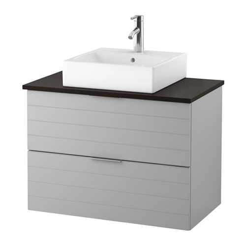 GODMORGON TOLKEN TÖRNVIKEN Kommod m tvttställ45x45 f bänkskiva antracit, ljusgrå IKEA