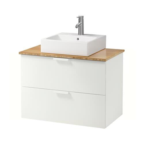 GODMORGON TOLKEN TÖRNVIKEN Kommod m tvttställ45x45 f bänkskiva bambu, vit IKEA